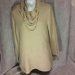 Tan beige w gold cowl neck long sleeve sweater XL